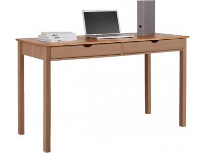 Escrivaninha de madeira maciça acabamento mel yucatan com 2 gavetas 140cm / gava