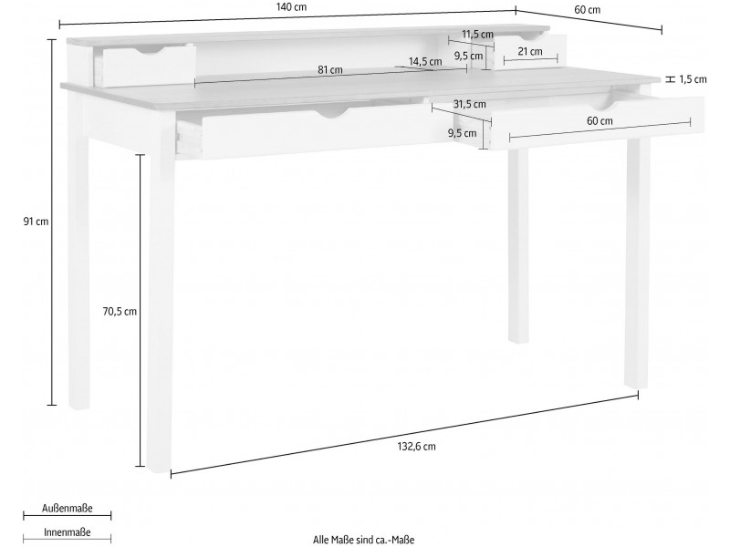 Escrivaninha de madeira 140cm branca e mel com 2 gavetas grande e 2 gavetas pequenas / gava