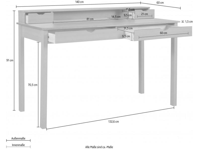 Escrivaninha de madeira 140cm cor mel yucatan com 2 gavetas grande e 2 gavetas pequenas / gava
