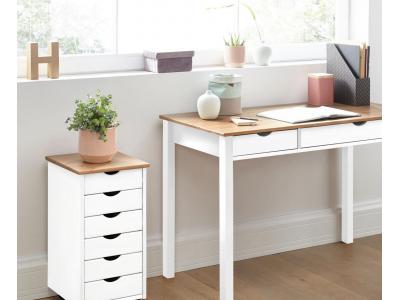 Gaveteiro de madeira branco e marrom para escritório ou home office / gava