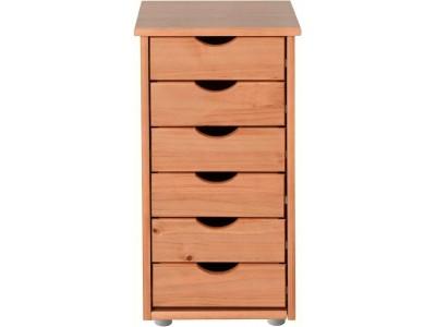 Gaveteiro de madeira marrom mel para escritório ou home office / gava