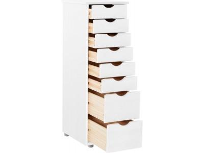 Gaveteiro de madeira branco lavado com 8 gavetas para escritório / Gava