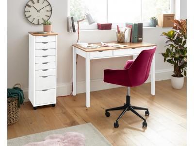 Gaveteiro de madeira branco e marrom com 8 gavetas para escritório / Gava