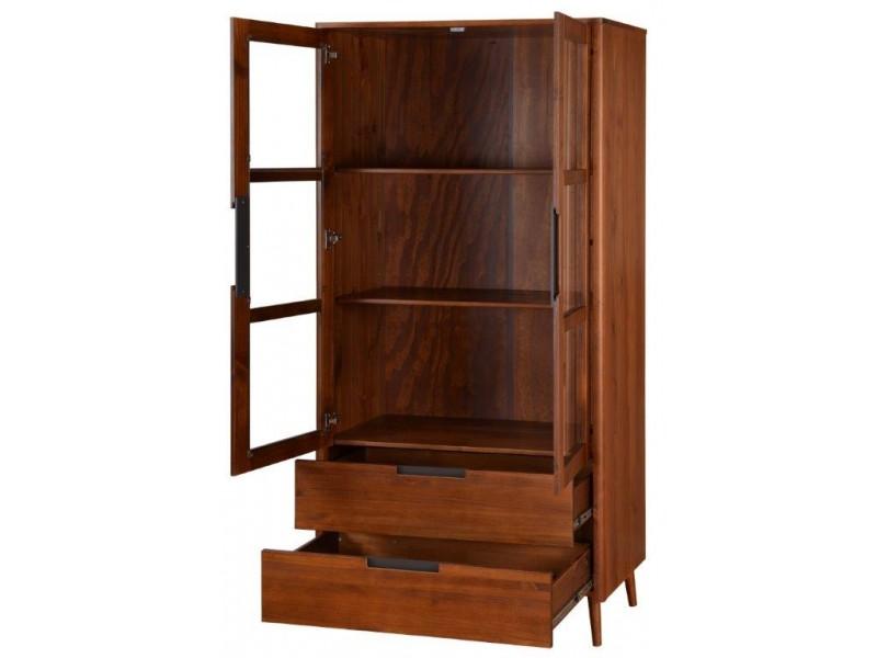 Vitrine estante cristaleira de madeira design retrô acabamento Amendoado / Scandian
