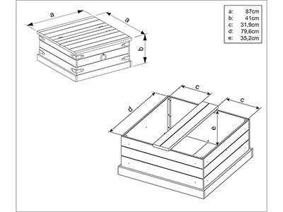 Baú mesa de centro rústico de madeira maciça / Alpes