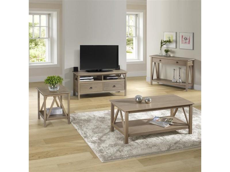 Rack de TV em madeira maciça com acabamento de laca cinza rústico em madeira escovada / titian