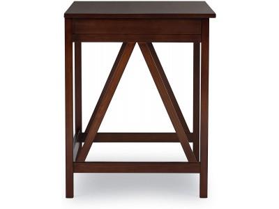 Escrivaninha compacta de madeira maciça com 1 gaveta na cor pinhão |  Titian