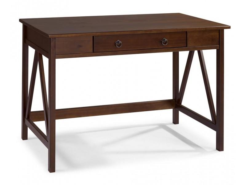 escrivaninha de madeira maciça com gaveta cor pinhão / titian