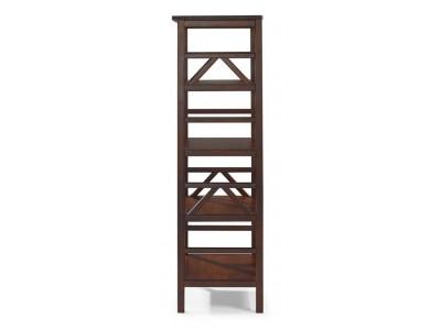 Estante de madeira maciça com 4 nichos acabamento cor pinhão | titian