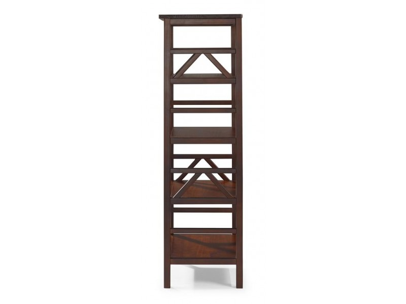 Estante de madeira maciça com 4 nichos acabamento cor pinhão / titian