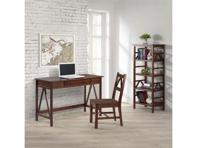 Escrivaninha de madeira maciça com gaveta cor pinhão | Titian