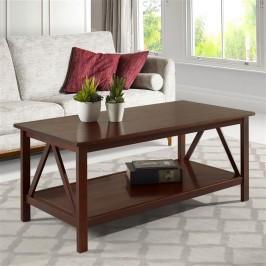 Mesa de centro de madeira maciça cor pinhão / titian