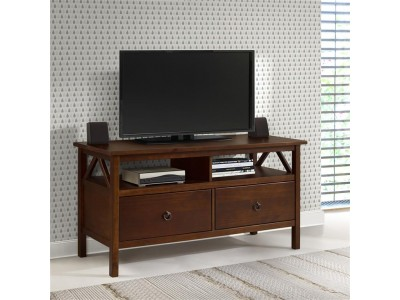 Rack de TV em madeira maciça com 2 gavetas e acabamento na cor pinhão | titian