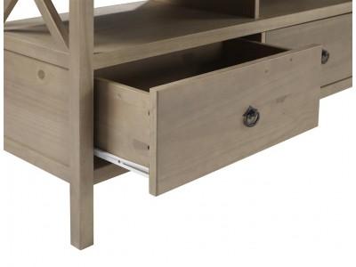 Rack de TV em madeira maciça com acabamento de laca cinza rústico em madeira escovada | titian