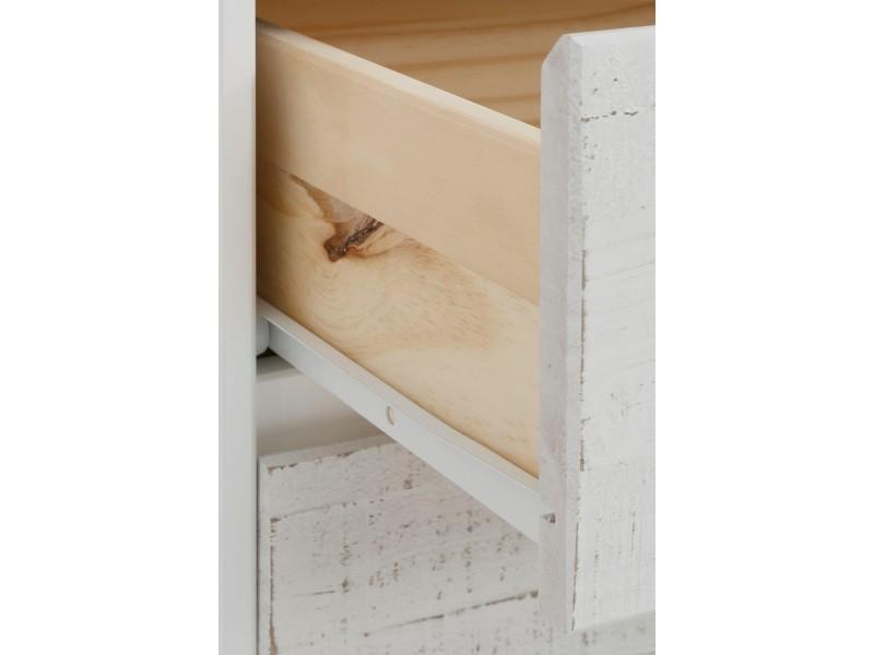 balcão buffet branco com 2 portas e 3 gavetas em madeira rustica tipo demolição / Zurique