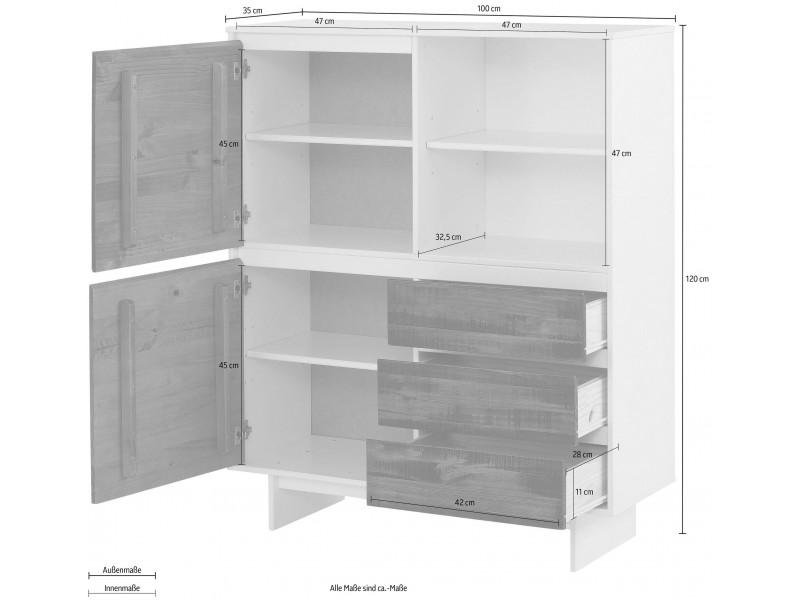 balcão buffet branco e marrom com 2 portas e 3 gavetas em madeira rustica tipo demolição / Zurique