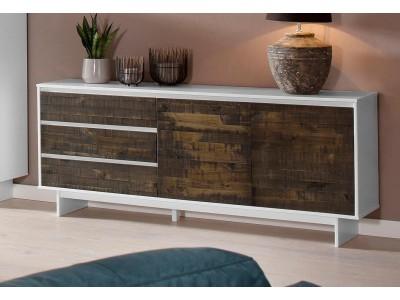 balcão buffet de madeira rustica com acabamento bicolor branco e marrom amadeirado  / zurique