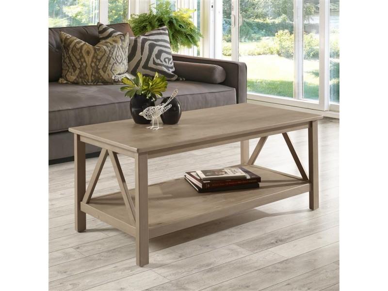 Mesa de centro de madeira maciça rústica escovada | Titian
