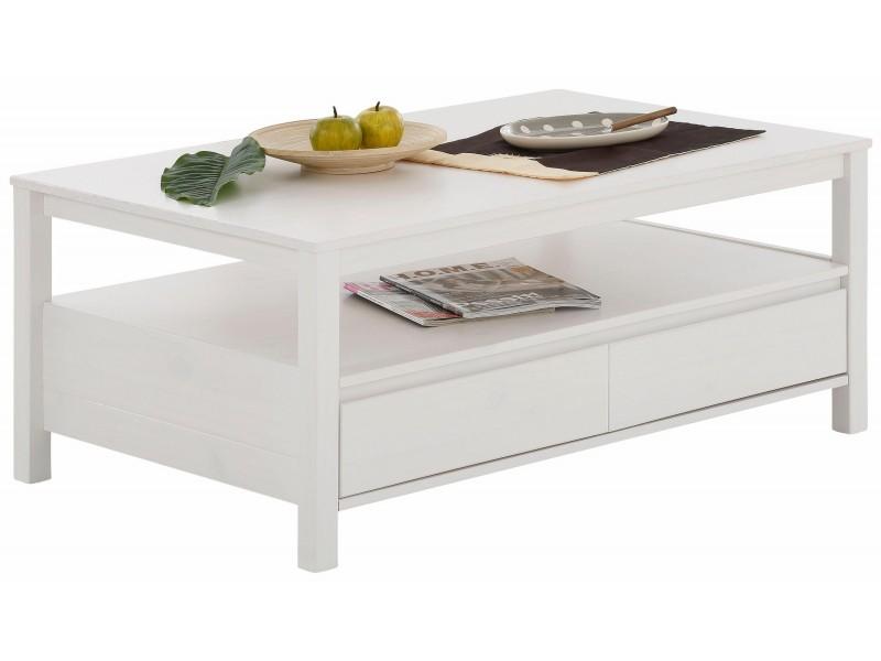 Mesa de centro de madeira maciça com acabamento branco lavado | Kubo