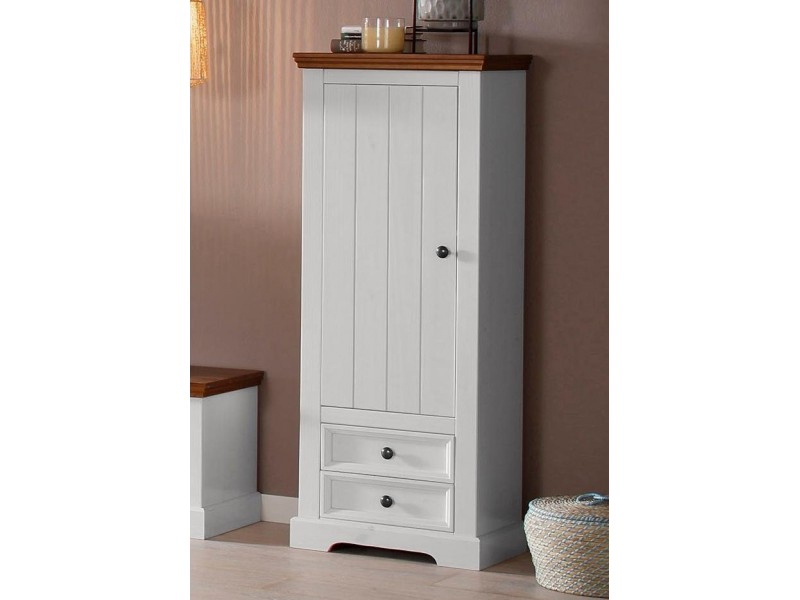 Estante de madeira maciça com 2 gavetas 1 porta 2 prateleira interna acabamento branco e marrom | Athenas