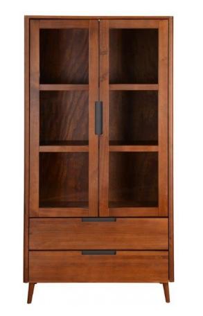 Cristaleira/Vitrine de madeira design retrô acabamento amendoado | Scandin