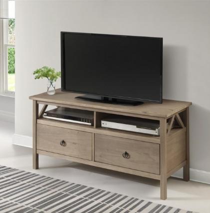 Rack de tv madeira com acabemento de laca cinza em madeura escondida