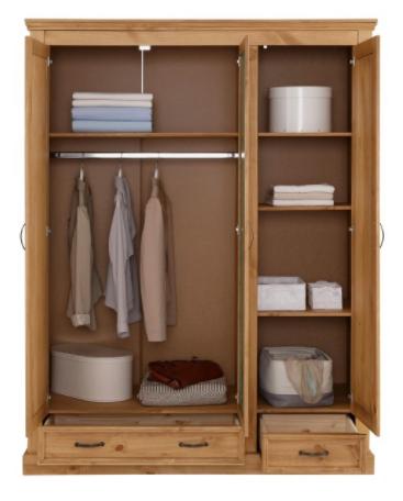 Guarda roupas de madeira maciça rústica com 3 porta 2 gavetas e espelho acabamento em cera