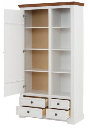 Armário estante de madeira maciça banco e marrom com 4 gavetas 1 porta e nichos com prateleiras