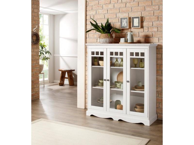 Cristaleira com 3 portas de vidro em madeira maciça acabamento banco lavado   melissa