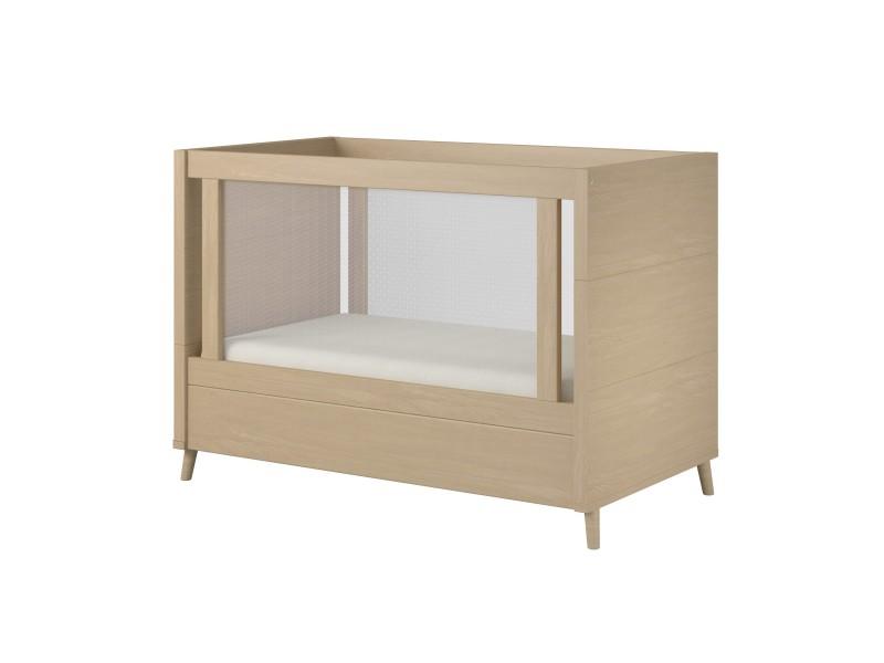 Berço de madeira mini cama cor carvalho | fit
