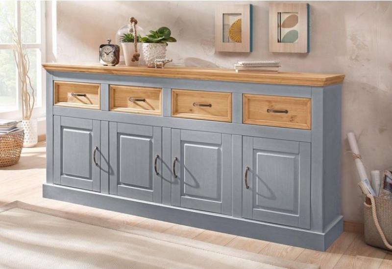 Balcão buffet aparador de madeira cinza lavado e cera com 4 portas e 4 gavetas | England