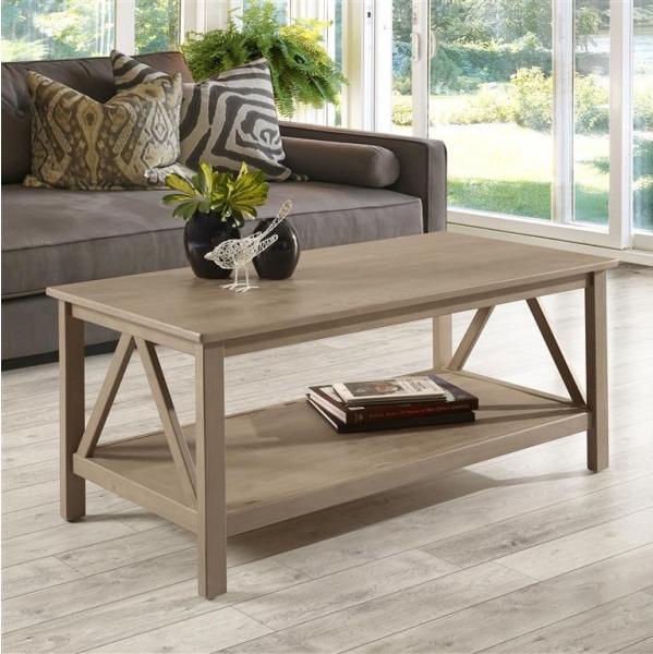 Mesa de centro de madeira maciça rústica escovada | Titan