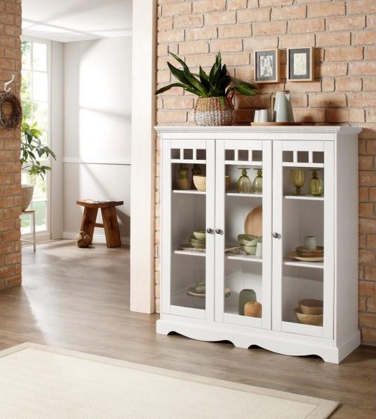 Cristaleira com 3 portas de vidro em madeira maciça acabamento branco lavado | Melissa